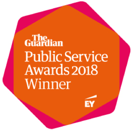 Guardian Public Service Award 2018 Winner badge